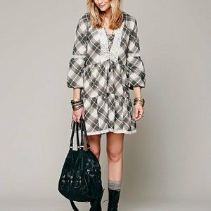 Free People Constantine Plaid Ruffle Mini Dress